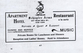 An advertisement for the Schuyler Arms Apartment Hotel